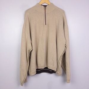 Tommy Bahama Tan Knit 1/4  Zip Up Pullover